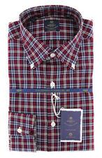 New $600 Luigi Borrelli Burgundy Red Shirt - (EV06414740STEFANO)