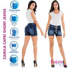 Colombian Blue Denim Capri Short Jeans Push Up Jeggings High Waist Shorts Cysm