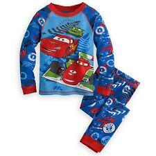 Disney Store Cars Lightning Mcqueen Tight Fit Long Sleeve Pajama Set Boy 6 7 8