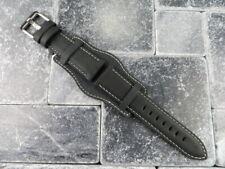 German Military Aviator Watch Strap Army Leather Cuff Watch Band Bund Black WH