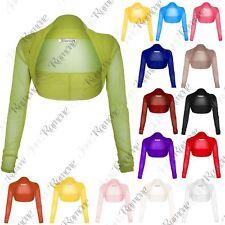 New Ladies Womens Sheer Mesh Chiffon Bolero Shrug Long Sleeve Crop Cardigan Tops