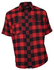 Western-Speicher Franela Camisa Manga Corta Algodón Rojo / NEGRO TALLA S- 4XL