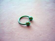 "Horseshoe Ball Titanium Eyebrow Lip Tragus 16g 3/8"" Green Ear cartilage"