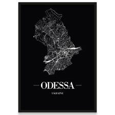 JUNIWORDS Stadtposter, Odessa, Schwarz, Kunstdruck Plan Map