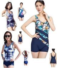 Women Slimming One Piece Modest Boy leg Swimsuit Swimwear XS S M L