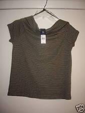 Woman's American Living Green/Wht Stripe Top Size L NWT