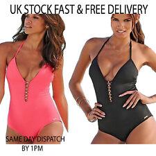 Womens Ladies Sexy Pink Summer One Piece Swimming Costume Monokini Beach Wear UK