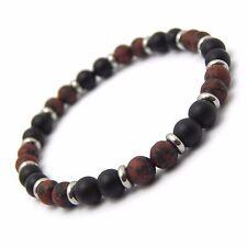 Bracelet homme/femme perles naturelle Pierre de gemmes métal inoxydable/inox P25