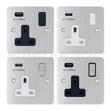 SATIN MATT CHROME PIATTO 1 Gang Singolo Socket W / USB di Ricarica Porta Presa Punto