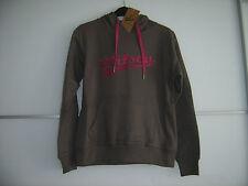 Damentenniskapuzensweatshirt braun mit pinker Aufschrift Wilson neu mit Etikett