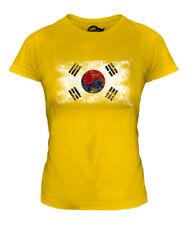 SOUTH KOREA DISTRESSED FLAG LADIES T-SHIRT TOP HANGUK KOREAN SHIRT FOOTBALL