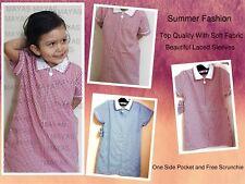 School Girls Gingham Dress Lace Check~Summer Dress Age 2-16 Years School Uniform