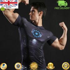 Camiseta para hombre de Compresión Gimnasio Superhéroe Músculo Vengadores Marvel Iron Man