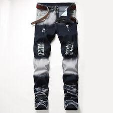 Jeans Bleached Distressed Frayed Slim Fit Denim Pants Men Biker Ripped Skinny