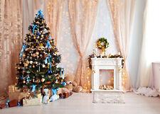 Xmas Tree & Fireplace Indoor Decor Photography Props Backdrop Photo Background