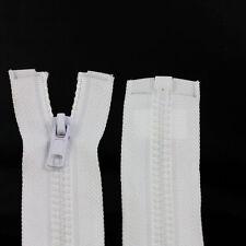 WHITE 10'' - 32'' INCH CHUNKY NO.5 OPEN END ZIPS SEW ON ZIPPER PLASTIC NZ1101