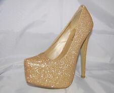 Señoras Oro Brillo Nupcial Tacón Alto Zapatos Tribunal De Plataforma Oculta-Reino Unido 4