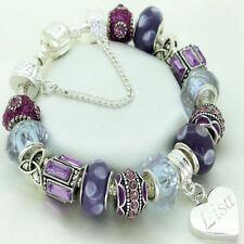 Personalised ENGRAVED Jewellery Purple Bracelet ANY NAME Birthday Christmas Gift