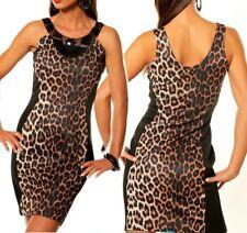 SeXy Miss Mini Damen Kleid Leopard Dress Glitzer Steine 34 36 braun schwarz