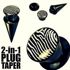 2 in 1 Ohrpiercing Expander Taper Dehner Flesh Plug Acryl Zebra Motiv