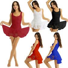 Damen Tanzen Kleider Lateinkleid Rumbakleid mit Asymmetrischem Rock Tanzkleidung
