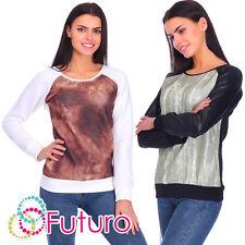 Womens trapuntato maglione felpa manica lunga camicetta DIMENSIONE 8-14 FZ10