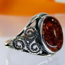 A469 Amber Bernstein Ring 925 Silber Schmuck keltische Knoten verschied. Größen