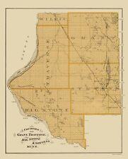 Map of Grant, Traverse, Big Stone, Stevens Minnesota Landowner 1874 - 23x28