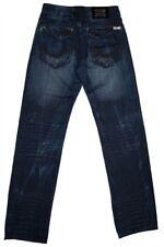 Jeans Uomo Blu scuro Cerniera lampo Aspetto Usato Lavaggi Pantaloni per Uomo