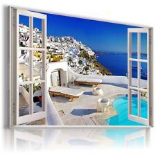 "3D SANTORINI GREECE Window View Canvas Wall Art Picture Large SIZE 30X20"" W175"