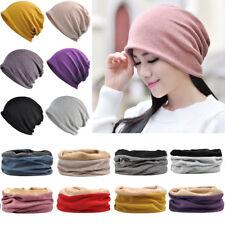Men Women Solid Color Beanie Cap Neck Scarf Velvet Warm Windproof Hat Multi-Use