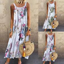 Women Retro Sleeveless O Neck Plus Size Bohemian Linen Floral Print Maxi Dress