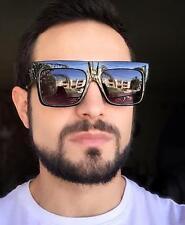 Men's Large Square BIG Flat ZZ Top Fashion Hipster Glasses BIG Sunglasses 73037