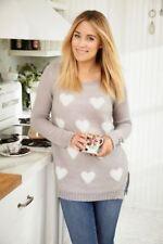 d08c8fd09b000 LC LAUREN CONRAD Hi low crewneck fuzzy heart gray sweater sizes XS S M L NEW