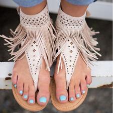 Womens Bohemian Flats Sandals Flip Flops Slipper Ankle Strap Summer Tassel Shoes
