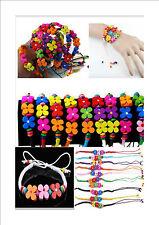 Girls Floral Design Multi-Colour Wooden Bracelet - Job Lot / Kids Party Bag Gift