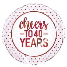 Cheers A 40 Años Aniversario Rojo Rubí 45.7cm Globo metalizado de helio