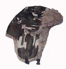 Camo Trapper Hat russo COSSACK Foderati di Pelliccia Sintetica Caldi Termici NUOVISSIMO univoco