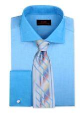 Dress Shirt by Steven Land Spread Collar French Cuff -Blue- DW1805-BL
