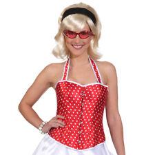 Rote Rockabilly Corsage Korsett weiß gepunktet 50er Jahre Rock'n'Roll Outfit