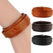 Cuff Bracelet Punk Men Women Genuine Leather Pattern Wide Wrap Wristband Bangle