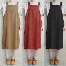 Women Cotton Sleeveless Strap Pinafore Apron Ladies Loose Long Shirt Dress CA