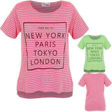 filles manche courte Tokyo New York Paris Londres imprimé rayures haut bas