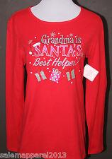 "CHRISTMAS HOLIDAY LONG SLEEVE T-SHIRT ""Grandma Is Santa's Best Helper!"" RED  NWT"