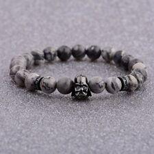 Mens Star Wars Darth Vader Bracelet 8mm Lava Stone Macrame Elastic Bracelets
