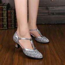 Women Latin Dance Shoes Ladies Ballroom Shoes Low-heeled Soft Bottom Sequin EAN