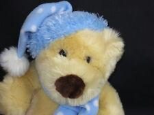 WINTER POLKADOT BLUE SCARF HAT PLUSH CHRISTMAS HOLIDAY TEDDY BEAR WINTER ANIMAL