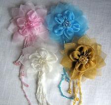 FLEUR sur BROCHE Tissu Organza + Perles Pampilles 9 cm mariage, cérémonie, fête