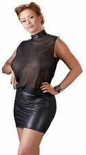 Plus Size Minikleid Schwarz Transparent Lack Look Kleid Übergröße XL 2XL 3XL 4XL