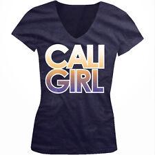 Cali Girl California OC Beach Woman Californians Surfer Juniors V-Neck T-Shirt